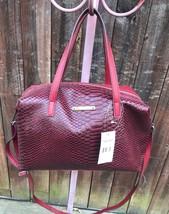 Nine West Feeling Slouchy Red Snakeskin Satchel Handbag - $61.13