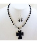 NEW Handmade Black Agate Carved Cross Pendant Necklace with Earrings - $38.00