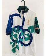 Vintage Hanes Atlanta 1996 Olympics polo Large 42-44 Men's Green Blue Wh... - $44.65