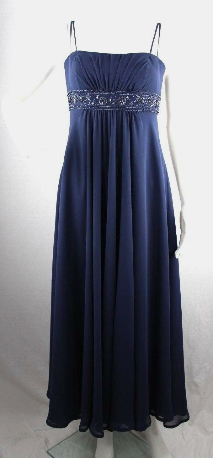 Primary image for Davids Bridal women's dress bridesmade blue strapless long polyester size 4