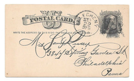 UX5 Postal Card 1881 Allegheny PA Fancy Negative A Cancel DPO Garfield D... - $22.00