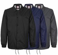 Men's Windbreaker Lightweight Waterproof Sherpa Button Up Nylon Coach Jacket