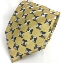 Alexander Julian Geometric Gold Neck Tie Square Pattern Necktie Colours ... - $7.08
