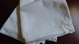 White Linen Cotton Elegant Battenburg lace Dining Napkin set of 10 - $29.70