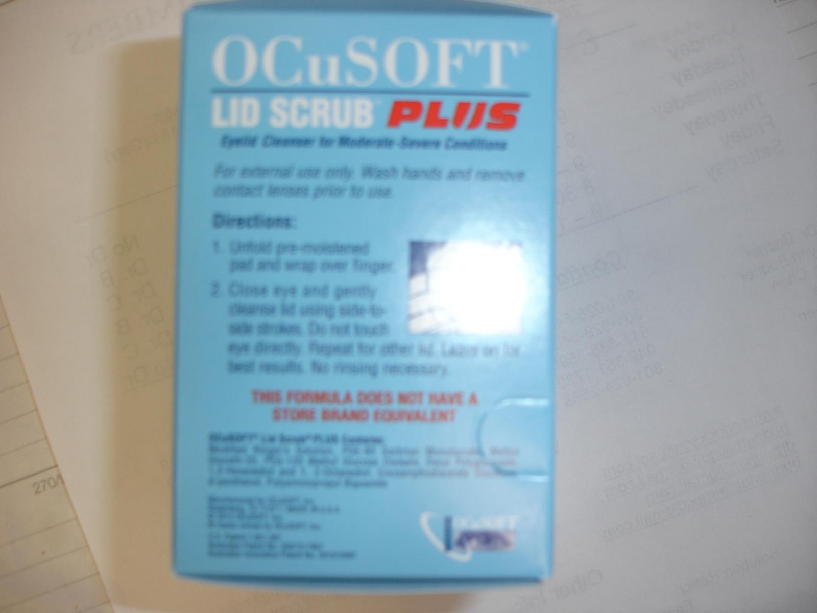 Ocusoft PLUS lid scrub pre moistened pads 60ct 2 pk  ($2.00 rebate)