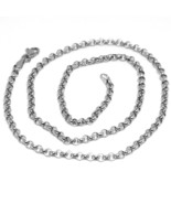 18K WHITE GOLD ROLO CHAIN 2.5 MM, 18 INCHES, NECKLACE, CIRCLES, MADE IN ... - $430.00