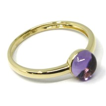 SOLID 18K YELLOW GOLD RING, CABOCHON CENTRAL PURPLE AMETHYST, DIAMETER 6mm image 2
