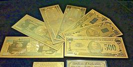 <SET W/CERTIFICATE>GOLD DETAIL U.S Banknote Memorabilia Set$1-$1B FREE S&H - $26.32