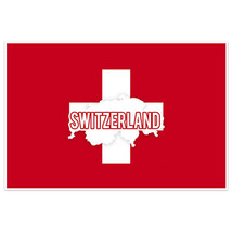 Switzerland Flag With Country Text Wall Art Poster - $18.32+