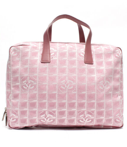Auth CHANEL Hand Bag Pink Leather Nylon Matelasse New Travel Jacquard B4536