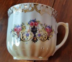 Vintage Tea Cup Bavaria  Floral Golden Porcelain Germany - $9.98