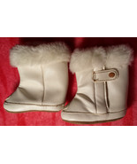 NWOT Girl's Size NB Newborn Off White Faux Leather/ Fur Velcro Infant Cr... - $16.00
