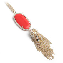 NEW! Kendra Scott Rayne 14k Gold Red Glass Long Necklace Tassel Dust Cover - $66.24