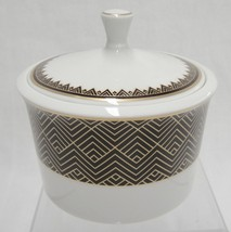Ralph Lauren Hastings Chocolate Sugar Bowl with Lid Brown and Gold Zigzags - $12.86