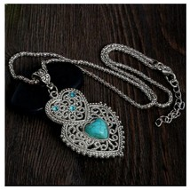 Turquoise Heart Pendant Necklace With Chain, Antique Silver Vintage Style - $3.99