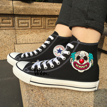 Canvas Sneakers Black Converse Design Clown Theme Scar Face High Top Spo... - $119.00