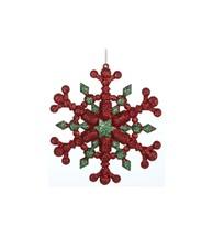 "Kurt Adler 5"" Green Red Glitter Six Pointed Star Snowflake Christmas Ornament - $5.68"
