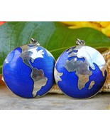 Vintage Cobalt Blue Guilloche Enamel World Globe Earth Dangle Earrings - $24.95