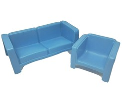 Vintage 1973 Mattel Barbie Dream House Furniture Blue Couch & Chair Plastic - $36.47
