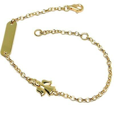 Bracelet Yellow Gold 18K 750, Baby Girl, Plate, Angel, Length 16.5 CM