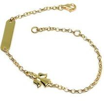 Bracelet Yellow Gold 18K 750, Baby Girl, Plate, Angel, Length 16.5 CM image 1