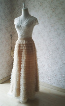 Champagne Long Layered Tulle Skirt Outfit Adults Tiered Tulle Skirt Custom image 5