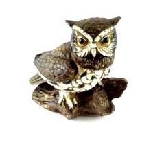 """Hand Painted Homco Owl Figurine 1114 Brown Owl on Branch 5"""" Tall Vintage Taiwan  - $12.99"""