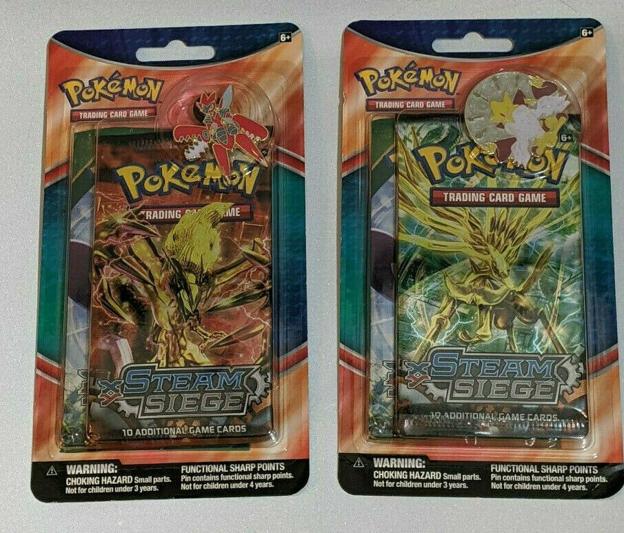 Primary image for Pokemon Trading Card Game Steam Seige 2 Booster Pack Collectors Pin NEW 2 Packs