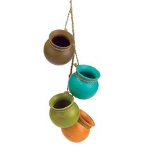 Set of 4 Dangling Mini Ceramic Cooking Pots Decor - $17.00 CAD