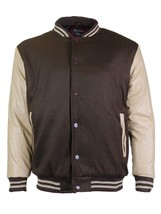Men's Snap Button Letterman Varsity Jacket Brown Khaki New /w Defect Size 2XL