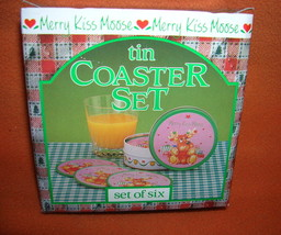 Giftco Inc Merry Kiss Moose Tin Coaster Set / Set 6 #G5533 UPC:710534485166 - $8.91