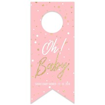 Oh Baby Pink Baby Shower Personalized Water Bottle Hang Tag - $26.24