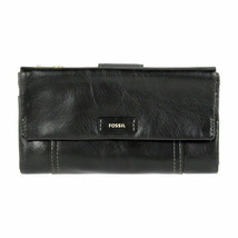 Fossil Ellis Leather Clutch Wallet Black MSRP $75 - $46.75