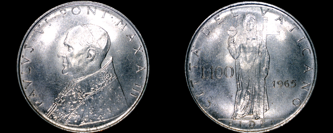 Primary image for 1965 Vatican City 100 Lire World Coin - Catholic Church Italy