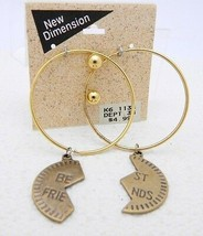 Vtg Nos New Dimension Best Friends Dangle Post Earrings Gold & Silver Tones Avai - $7.20
