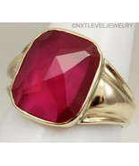 Antique Art Deco SIGNED 12ct Faceted Top Cushion Ruby 10k Solid Gold Men... - $569.25