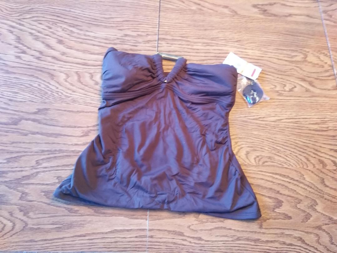 Michael Kors Milk Chocolate Shirred Bandeau Top Size Small