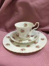 ROYAL ALBERT - Forget Me Not Rose Pattern Luncheon Set - Plate Cup & Saucer - $47.41