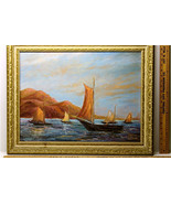 """1968 Esther Lewis """"East Of The Sun"""" Sailboat Sailing Water Fishing Scene... - $135.10"""