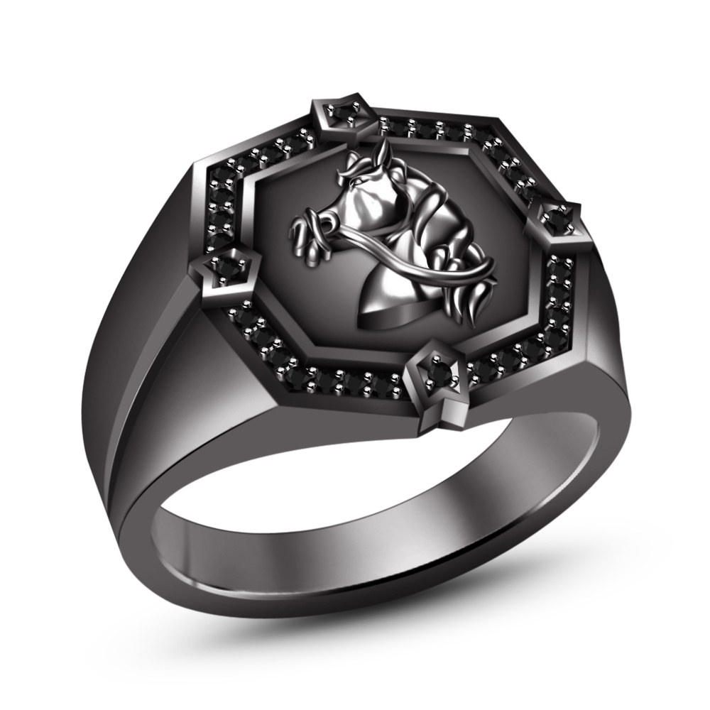 Primary image for 14k Black Gold Fn. 925 Silver Round Cut Simulated Diamond Men's Horse Foal Ring