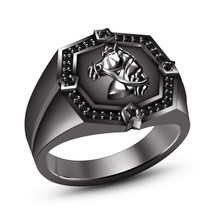 14k Black Gold Fn. 925 Silver Round Cut Simulated Diamond Men's Horse Foal Ring - $121.40