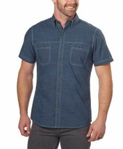 NEW G.H. Bass & Co. Men's Short Sleeve Dark Blue Woven Shirt