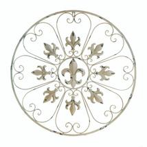 Antiqued Ivory Iron Circular Wall Decor w/ Fleur de Lis & Heart Shaped Scrolls  - $38.95