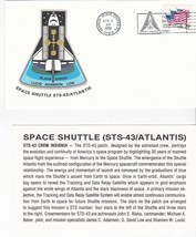 STS-43 ATLANTIS KENNEDY SPACE CENTER FL AUGUST 11 1991 WITH INSERT CARD - $1.78