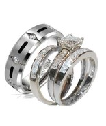 His and Hers Wedding Rings 4 Piece Cz Ring Set 925 Sterling Silver & Tit... - $59.99