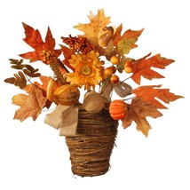 National Tree Company Harvest Accessories 16 In. Basket With Pumpkins An... - $26.99