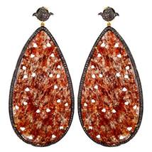 Onyx Gemstone 14K Gold Diamond Studded Dangle Drop Earrings 925 Silver J... - $1,272.70