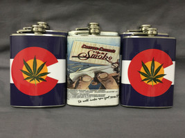 Set of 6 Colorado Flag & Cheech Chong Flasks 8oz Stainless Steel Hip Dri... - $36.58