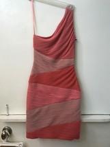 Bcbg Max Azria Dress Xs Extra Small Kira One Shoulder Coral Pink Msrp $338 Nwt - $99.95
