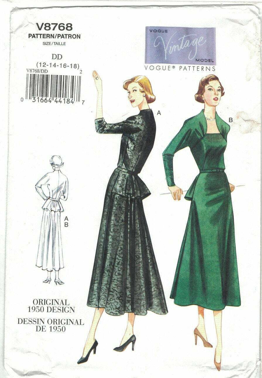 Primary image for Vogue Vintage Model Pattern 8768 Back Peplum Dress 1950s Size 12 14 16 18 Uncut